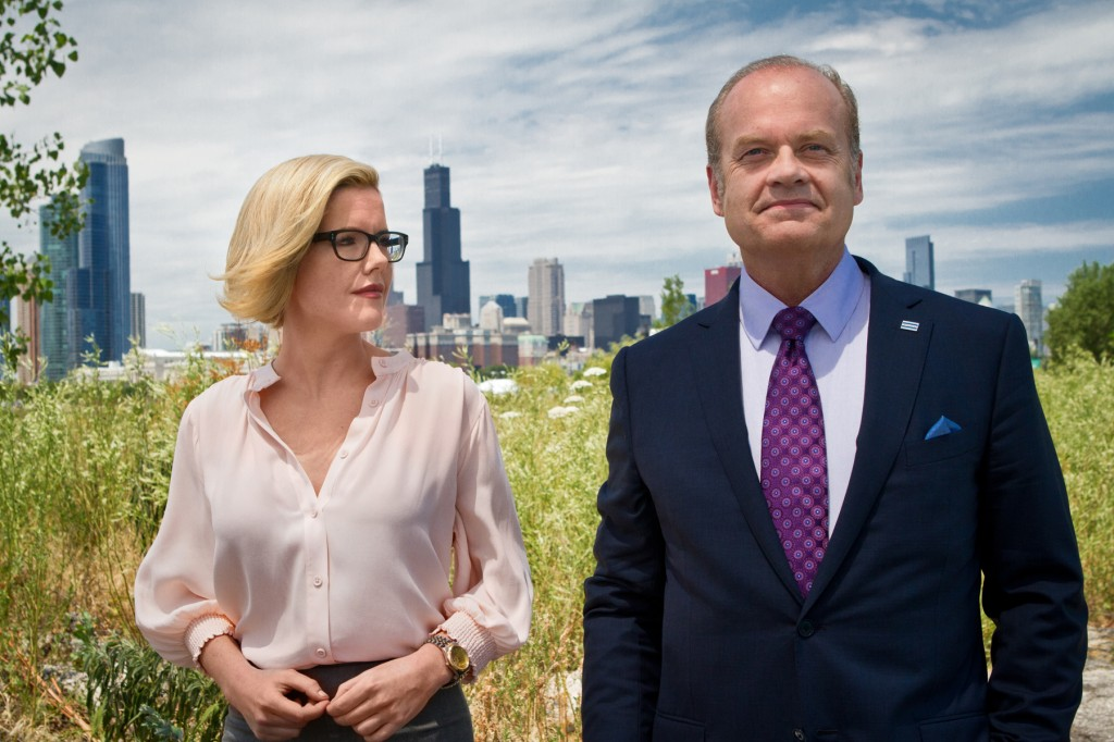 Kane (Kelsey Grammer) and Kitty (Kathleen Robertson) talk about everthing.